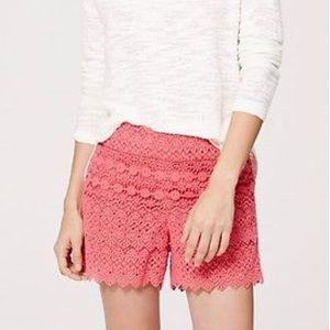 Ann Taylor Loft Cotton Floral Scallop Lace Shorts